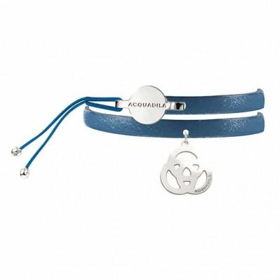 Bracelet jonc cuir Trinity argent