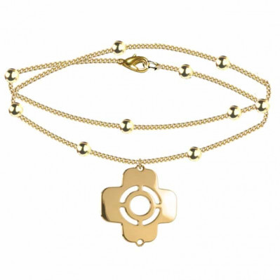 bracelet chaine croix grecque doré
