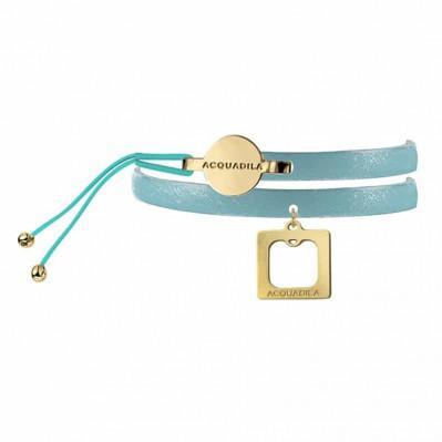 Bracelet jonc cuir Square doré champagne