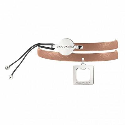Bracelet jonc cuir Square plaqué argent