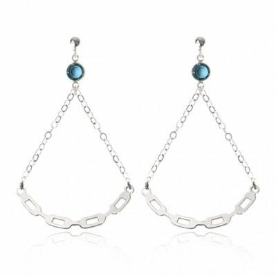 Boucles d'oreilles Lune Link - plaqué argent