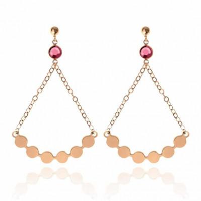 Boucles d'oreilles Lune Bubble - doré rose