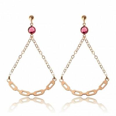 Boucles d'oreilles Lune Link - doré rose
