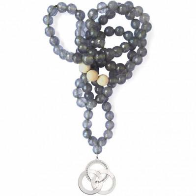 Rosaire Trinity agates grises plaqué argent