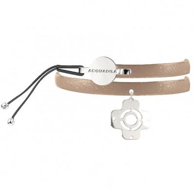 Bracelet jonc cuir AX argent