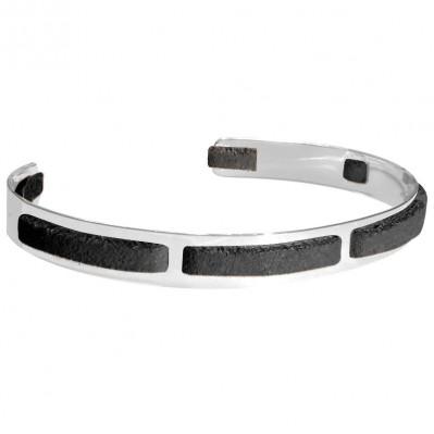 Bracelet homme argent Jonc seven noir