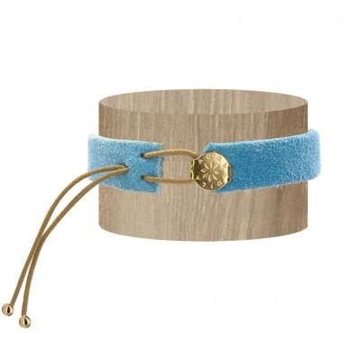 Bracelet daim naturel doré