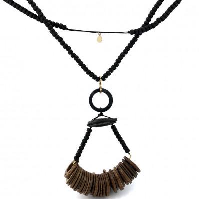 Sautoir Tribal Noir et brun