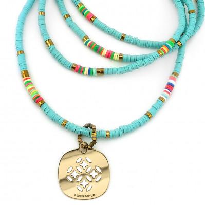Sautoir Massai Mandala turquoise