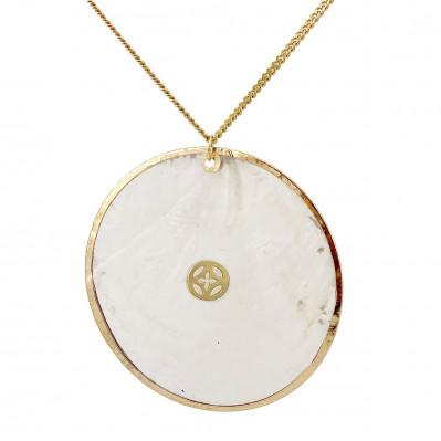 Sautoir Mandala blanc argent