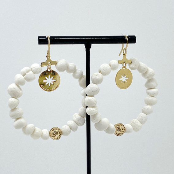 Boucles d'oreilles Stella corail blanc