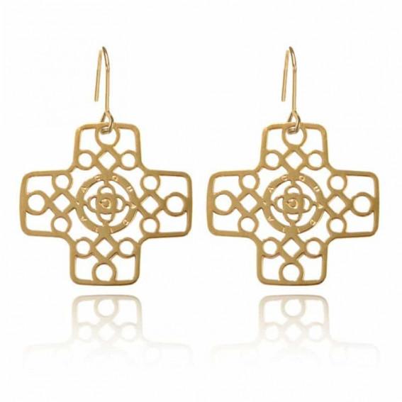 Boucles d'oreilles Croix grecque - doré