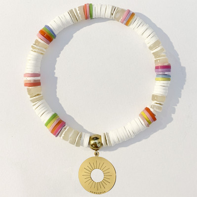 Bracelet Sole corail blanc et or