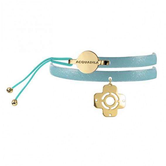 Bracelet jonc cuir AX or