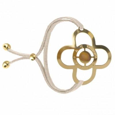 Bracelet tatouage Trèfle doré champagne