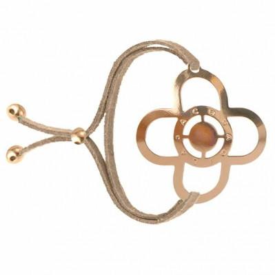 Bracelet tatouage Trèfle doré rose